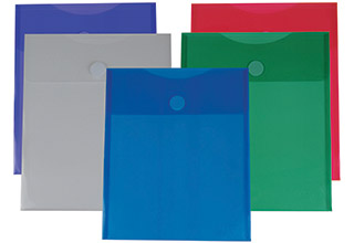 Poly Velcro Top Open No Gusset Envelopes Assorted 9-5/8 x 11-3/4
