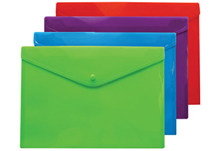 Poly Snap Vivid Open Side Envelopes Assorted Vivid 13 x 9-1/4