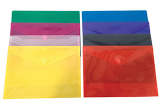 Poly Velcro Ribbed Finish Side Open Envelopes Assorted 13 x 9-1/4